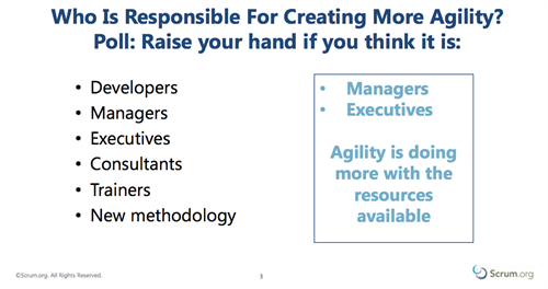 Who Creates Agility